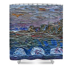 Shower Curtain featuring the painting Early Winter In New Jersey by Vadim Levin