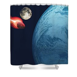 Earth Hit By Asteroid Shower Curtain by Corey Ford