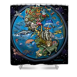 Shower Curtain featuring the painting Earth by Kevin Middleton