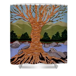 Shower Curtain featuring the painting Earth Mother by Carolyn Cable