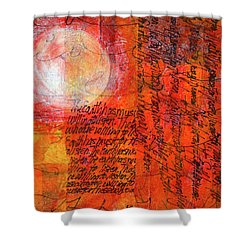 Shower Curtain featuring the mixed media Earth Music by Nancy Merkle