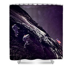 Shower Curtain featuring the digital art Earth Rise On The Moon by Methune Hively