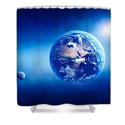 Earth Sunrise Deep Space Shower Curtain