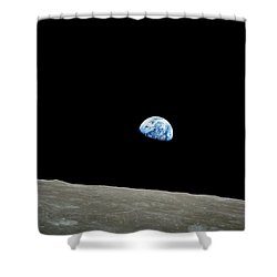 Earthrise - The Original Apollo 8 Color Photograph Shower Curtain by Nasa