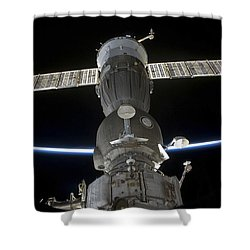 Earths Limb Intersects A Soyuz Shower Curtain by Stocktrek Images
