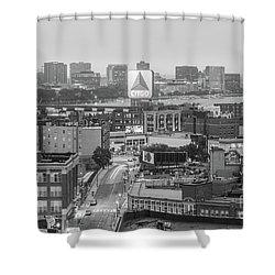 East Cambrdige Boston Skyline Aerial Citgo Sign Photo Shower Curtain