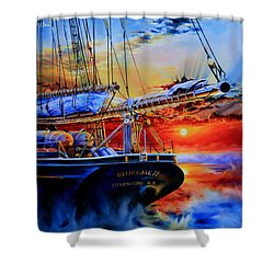 Shower Curtain featuring the painting Red Sky In The Morning by Hanne Lore Koehler