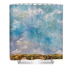 Shower Curtain featuring the painting East Field Seedlings by Judith Rhue