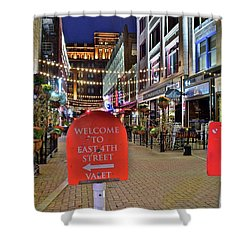 Shower Curtain featuring the photograph East Fourth Valet by Frozen in Time Fine Art Photography