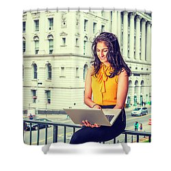 East Indian American Businesswoman In New York Shower Curtain