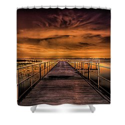 East Lake Pier Topaz Shower Curtain