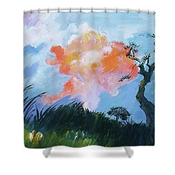 East Meets West1 Shower Curtain