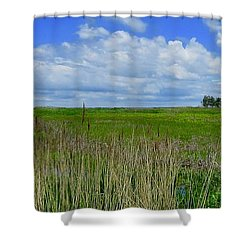 East Point Lighthouse Across The Marsh  Shower Curtain