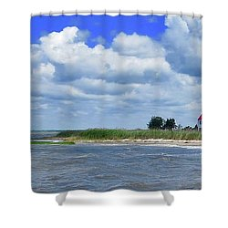 East Point Lighthouse At High Tide Shower Curtain