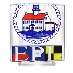 Shower Curtain featuring the digital art East Point Lighthouse Poster - 2 by Nancy Patterson
