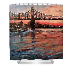 East River Tugboats Shower Curtain by Peter Salwen
