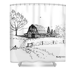 East Texas Hay Barn Shower Curtain