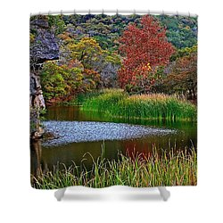East Trail Pond At Lost Maples Shower Curtain
