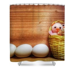 Easter Basket Of Pink Chicks With Eggs Shower Curtain