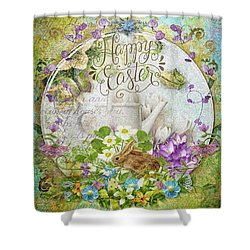 Shower Curtain featuring the mixed media Easter Breakfast by Mo T