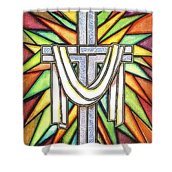 Shower Curtain featuring the painting Easter Cross 5 by Jim Harris