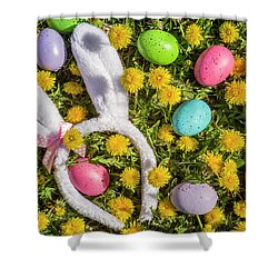 Shower Curtain featuring the photograph Easter Eggs And Bunny Ears by Teri Virbickis