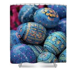 Easter Eggs Shower Curtain by Eva Lechner