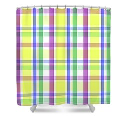 Shower Curtain featuring the digital art Easter Pastel Plaid Striped Pattern by Shelley Neff