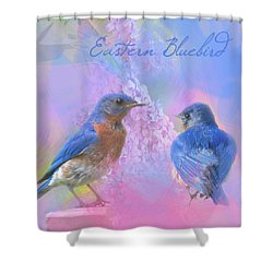 Shower Curtain featuring the photograph Eastern Bluebirds Watercolor Photo by Heidi Hermes