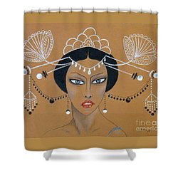 Eastern Elegance -- Whimsical Asian Woman Shower Curtain