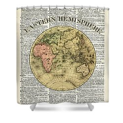 Eastern Hemisphere Earth Map Over Dictionary Page Shower Curtain by Jacob Kuch