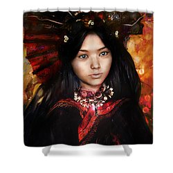 Shower Curtain featuring the painting Eastern Light Our Lady by Suzanne Silvir
