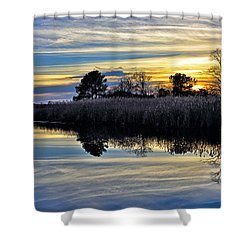 Shower Curtain featuring the photograph Eastern Shore Sunset - Blackwater National Wildlife Refuge - Maryland by Brendan Reals