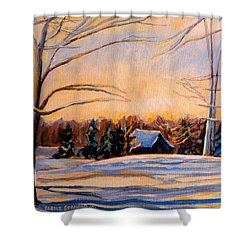 Eastern Townships In Winter Shower Curtain by Carole Spandau