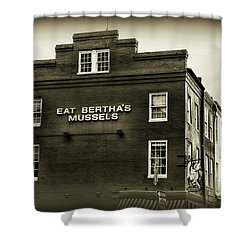 Eat Berthas Mussels In Black And White Shower Curtain by Paul Ward
