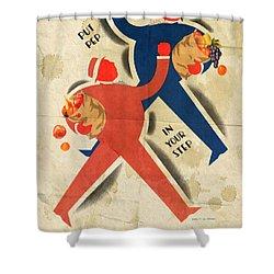 Eat More Fruit - Vintage Poster Folded Shower Curtain