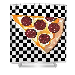Shower Curtain featuring the mixed media Eat Pizza by Kathleen Sartoris
