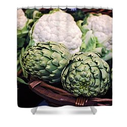 Eat Your Greens Shower Curtain by Heather Applegate