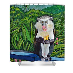 Eating A Banana Shower Curtain by Laura Forde