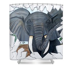 Eavesdropping Elephant Shower Curtain by Teresa Wing
