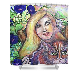 Shower Curtain featuring the painting Eazybreezylazy Sunday by Rae Chichilnitsky