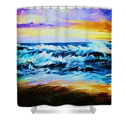 Shower Curtain featuring the painting Ebb Tide At Sunset by Al Brown