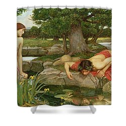 Echo And Narcissus Shower Curtain by John William Waterhouse