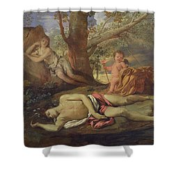 Echo And Narcissus  Shower Curtain by Nicolas Poussin