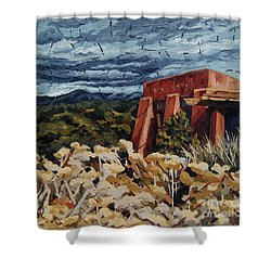 Shower Curtain featuring the painting Echoes Of Tularosa, Museum Hill, Santa Fe, Nm by Erin Fickert-Rowland