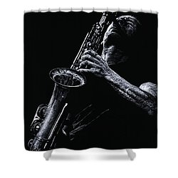 Eclectic Sax Shower Curtain by Richard Young