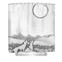 Eclipcse Graphic Pen Outline Shower Curtain