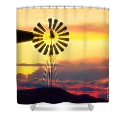 Eclipse Windmill In The Sunset Clouds Shower Curtain by Wernher Krutein