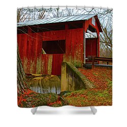 Ecther Covered Bridge Near Catawissa, Pa Shower Curtain