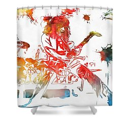 Eddie Van Halen Paint Splatter Shower Curtain by Dan Sproul